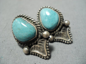 Tommy Jackson Vintage Native American Navajo Candelaria Turquoise Sterling Silver Earrings Old