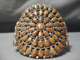 Amazing Colossal Native American Navajo Coral Sterling Silver Bracelet Cuff
