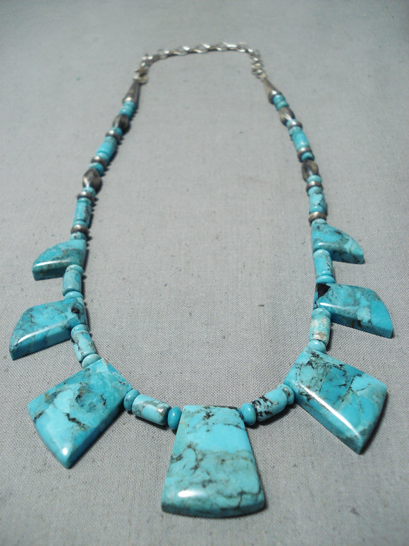 One Of The Best Vintage Native American Navajo Blue Diamond Turquoise Sterling Silver Necklace