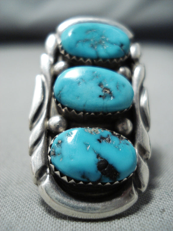 Exceptional Vintage Native American Navajo Old Kingman Turquoise Sterling Silver Ring