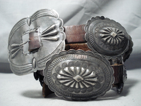 Early Very Old Vintage Native American Navajo Sterling Silver Hand Tooled Concho Belt