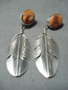 Unforgettable Navajo Spiny Oyster Sterling Silver Earrings Native American