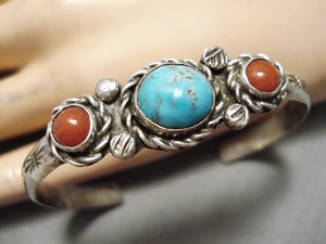 Authentic Vintage Native American Navajo Turquoise Coral Sterling Silver Bracelet Old