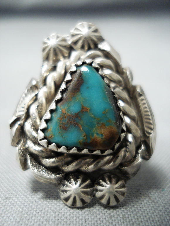 Striking Vintage Native American Navajo Royston Turquoise Sterling Silver Ring Old