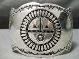 Huge Heavy Wide Hand Tooled Vintage Native American Navajo Sterling Silver Bracelet Cuff