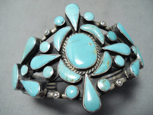 Awesome Vintage Navajo Native American Turquoise Sterling Silver Bracelet Old