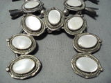 Women's Vintage Native American Navajo Sterling Silver Pearl Squash Blossom Necklace Old
