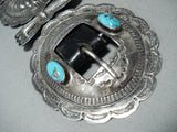 Huge Heavy Old Vintage Native American Navajo Turquoise Sterling Silver Concho Belt