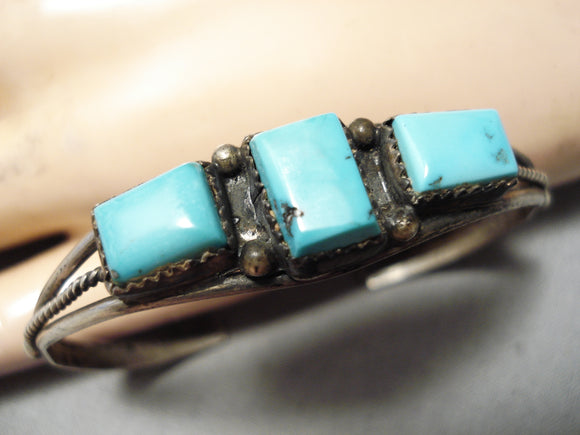 Wonderful Vintage Zuni Blue Gem Turquoise Sterling Silver Bracelet Native American Old