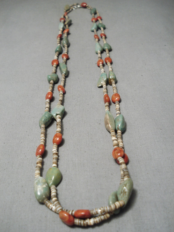 Native American Amazing Vintage Santo Domingo Royston Turquoise Coral Sterling Silver Necklace