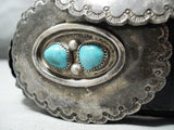 Heavy Thick Old Vintage Native American Navajo Turquoise Sterling Silver Concho Belt Old