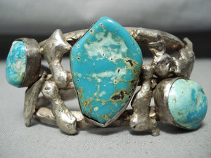 Quality Rare Vintage Native American Navajo Museum Turquoise Sterling Silver Slag Bracelet