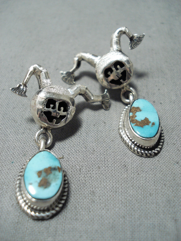 Dancing Clown Native American Navajo Pilot Mountain Turquoise Sterling Silver Earrings