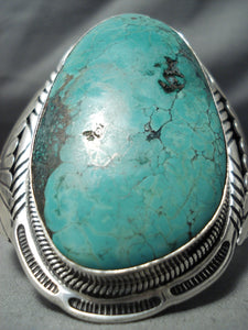 One Of The Biggest Native American Navajo Green Turquoise Sterling Silver Bracelet