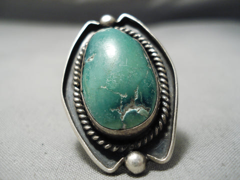 Huge Vintage Navajo Domed Green Turquoise Sterling Silver Native American Ring