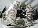 Very Rare Early Cerrillos Turquoise Vintage Native American Navajo Sterling Silver Concho Belt
