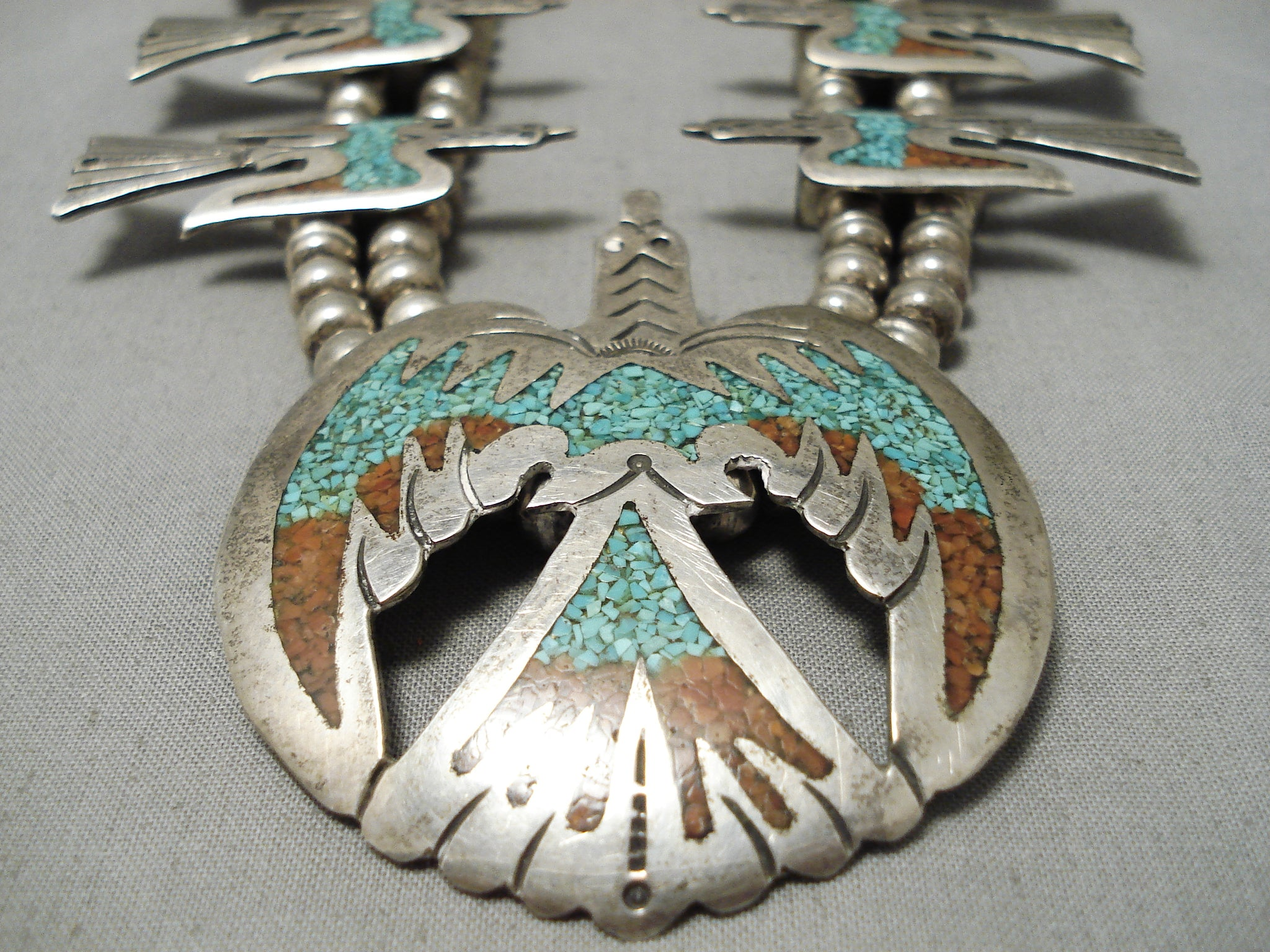 Silver Turquoise Blossom Necklace Vintage Navajo Indian Beaded Zuni Inlay Coral