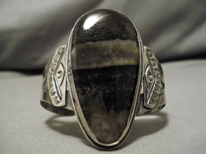 Remarkable Vintage Native American Navajo Petrified Wood Sterling Silver Bracelet Old