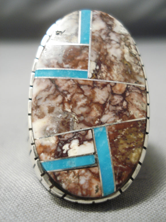 Native American Huge Men's Thick Heavy Sturdy Sterling Silver Turquoise Inlay Ring