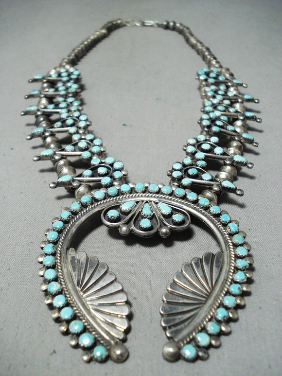 Women's Vintage Native American Navajo Zuni Turquoise Sterling Silver Squash Blossom Necklace