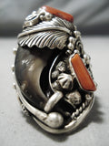 Colossal Vintage Navajo Coral Sterling Silver Native American Leaf Ring