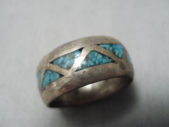 Striking Vintage Native American Navajo Turquoise Chip Inlay Sterling Silver Ring