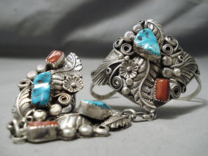 So Detailed!! Vintage Native American Navajo Turquoise Coral Sterling Silver Leaf Bracelet Ring