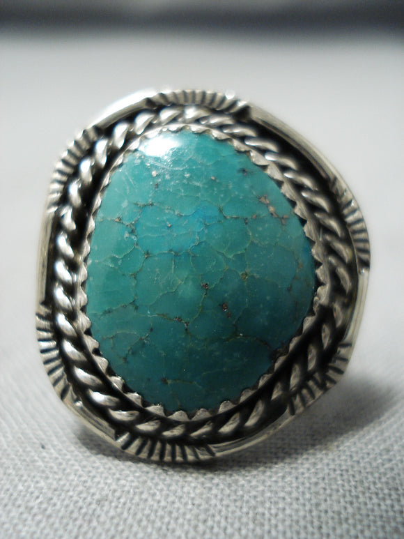 Amazing Vintage Native American Navajo Turquoise Sterling Silver Ring Old