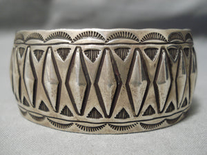 Rare Rhombus Hand Repoussed Sterling Silver Vintage Native American Navajo Bracelet