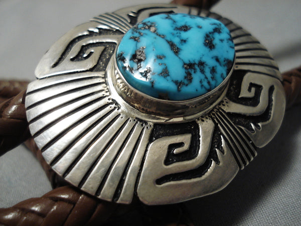 Vintage Native American Navajo Bolo Tie- Important Thomas Singer Turquoise Sterling Silver