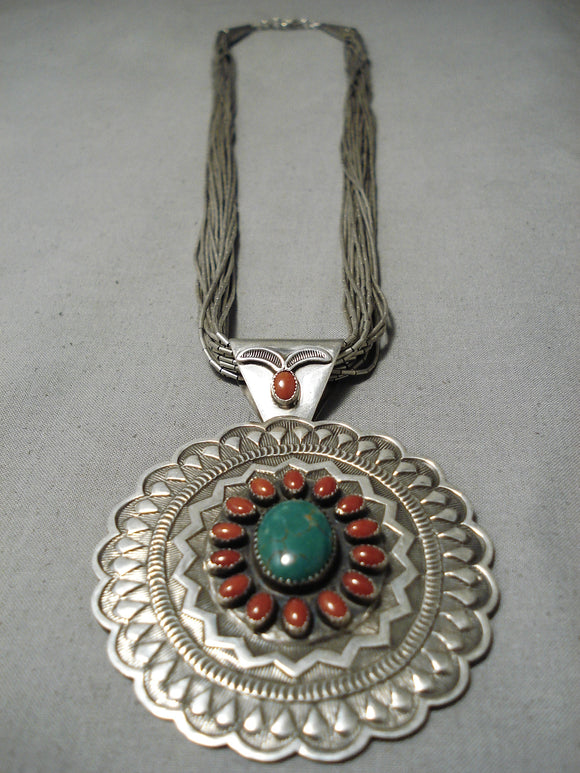 Unforgettable Vintage Native American Navajo Royston Turquoise Sterling Silver Necklace