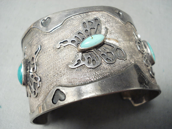 One Of The Best Vintage Native American Navajo Butterfly Turquoise Sterling Silver Bracelet