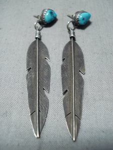 Custom Vintage Native American Navajo Sleeping Beauty Turquoise Sterling Silver Feather Earrings