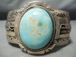Intense Vintage Native American Navajo #8 Turquoise Sterling Silver Feather Bracelet