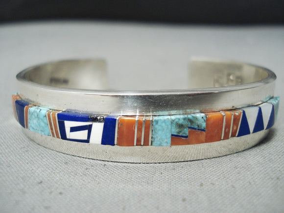 Expert Detailed Vintage Native American Navajo Turquoise Coral Lapis Sterling Silver Bracelet