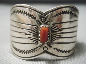 Striking Vintage Native American Navajo Butterfly Sterling Silver Coral Hair Barrette