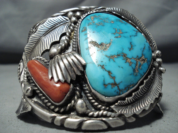 One Of The Best Vintage Native American Navajo Turquoise Coral Sterling Silver Bracelet