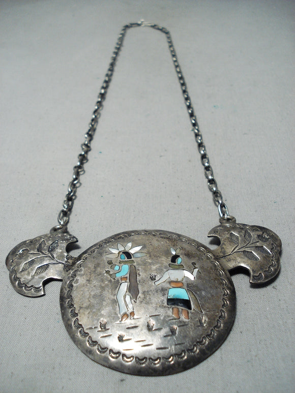 One Of The Best Vintage Native American Navajo Turquoise Inlay Sterling Silver Necklace Old