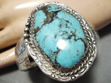 Rare Huge Vintage Native American Navajo Blue Diamond Turquoise Sterling Silver Bracelet Old