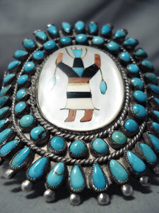 Important Vintage Native American Navajo Victor Moses Begay Turquoise Sterling Silver Bracelet