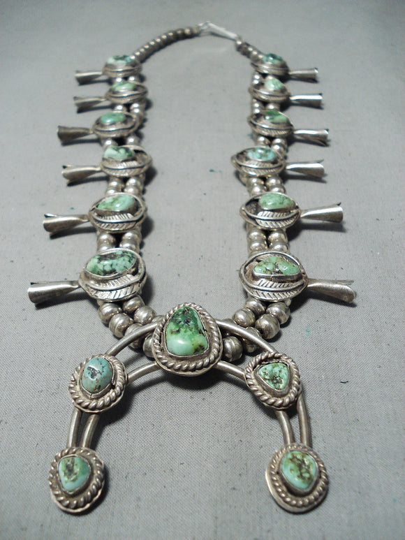 Rare Vintage Native American Navajo Orvil Jack Turquoise Sterling Silver Squash Blossom Necklace