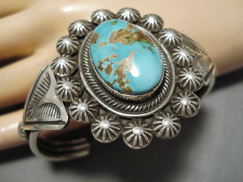 Exceptional Vintage Native American Navajo Royston Turquoise Sterling Silver Bracelet Old