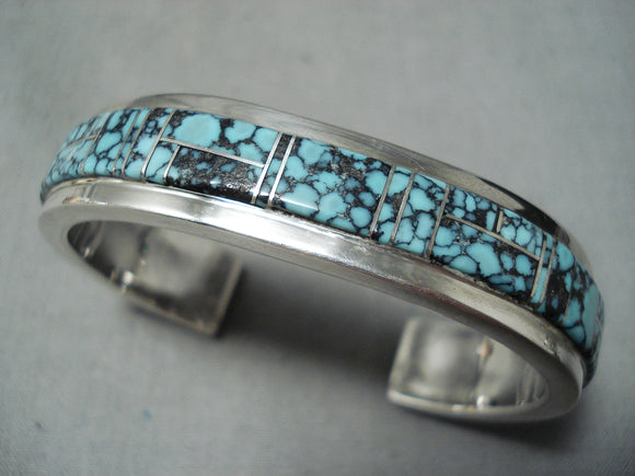 Pat Chee Important Vintage Native American Navajo Spider Turquoise Sterling Silver Bracelet