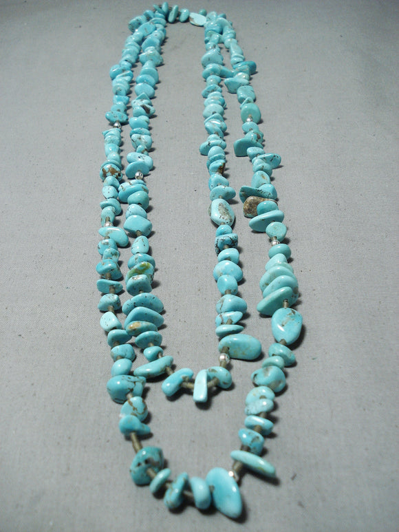 Striking Long Navajo Turquoise Sterling Silver Necklace Native American