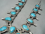 Women's Vintage Native American Navajo Blue Turquoise Sterling Silver Squash Blossom Necklace