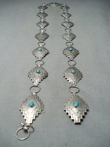 Exceptional Native American Navajo Blue Gem Turquoise Sterling Silver Concho Belt