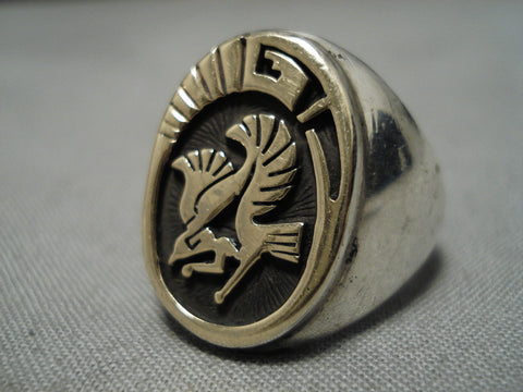 Amazing Vintage Native American Navajo 14k Gold Eagle Sterling Silver Ann Whitegoat Ring