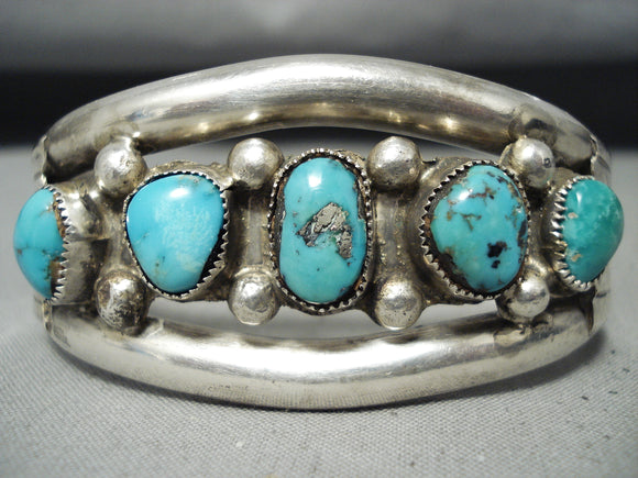Early Vintage Native American Navajo Morenci Turquoise Sterling Silver Bracelet Old