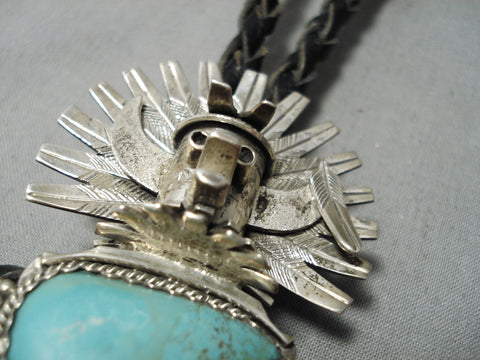 Amazing Vintage Native American Navajo Royston Turquoise Kachina Sterling Silver Bolo Tie