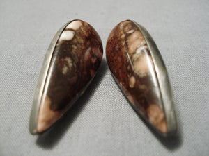 Authentic Vintage Native American Navajo Orville Tsinnie Agate Sterling Silver Earrings